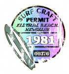 Aged Surf Craft Permit Fistral Beach Newquay 1981 Surfing Design Vinyl Car sticker decal  90x95mm